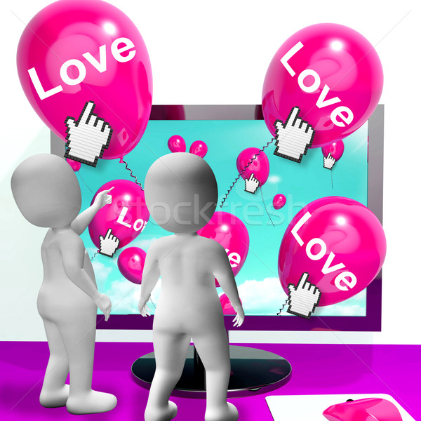 Love Balloons Show Internet Fondness and Affectionate Greetings Stock photo © stuartmiles