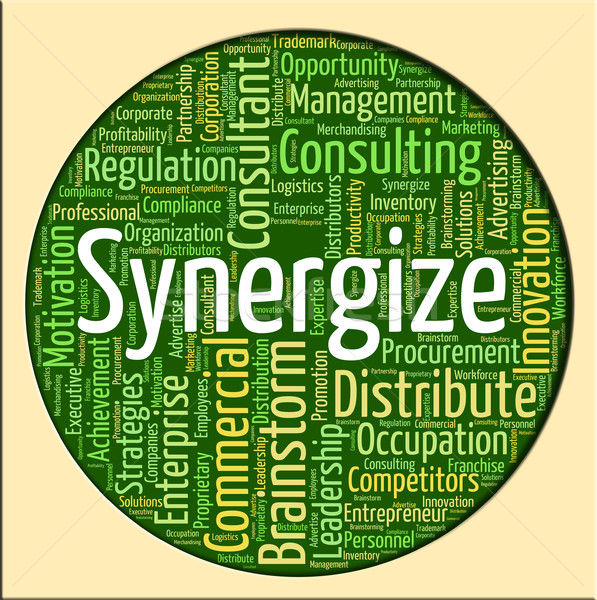 Synergize Word Shows Working Together And Collaborate Stock photo © stuartmiles