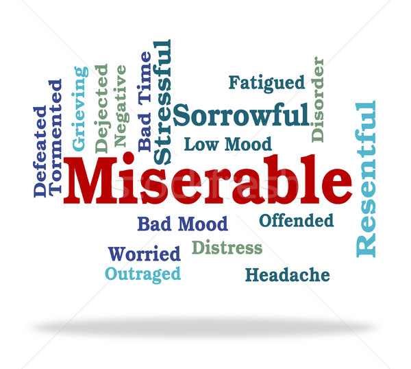 Miserable Word Represents Grief Stricken And Desolate Stock photo © stuartmiles