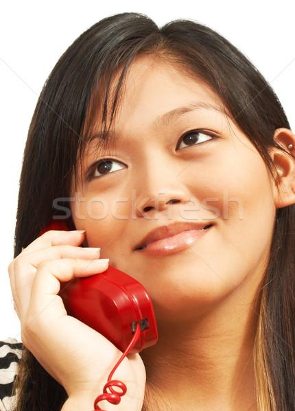 Woman Talking On A Landline Phone Stock photo © stuartmiles