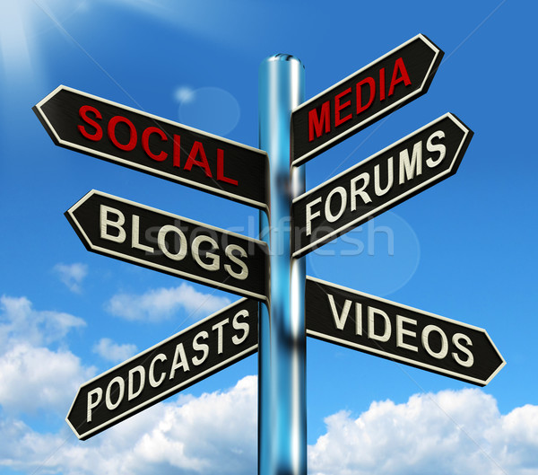 Stock photo: Social Media Signpost Shows Information Support And Communicatio