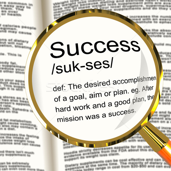 Stock photo: Success Definition Magnifier Showing Achievements Or Attainment