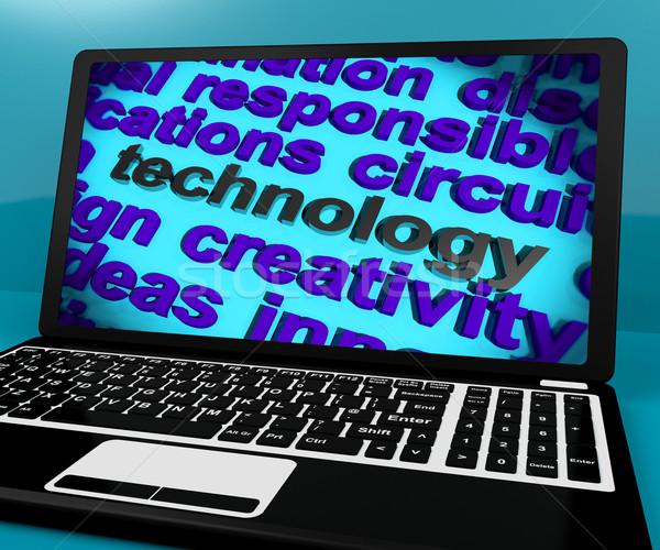 Technologie woord laptop betekenis software hi-tech Stockfoto © stuartmiles