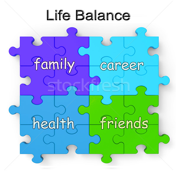 Life Balance Puzzle Shows Family And Friends Stock photo © stuartmiles