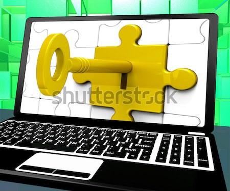 Сток-фото: ключевые · блокировка · экране · безопасности · ограниченный · головоломки