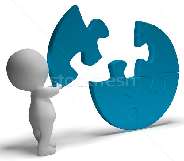Completing Jigsaw Shows Solution Completing Or Achievement Stock photo © stuartmiles