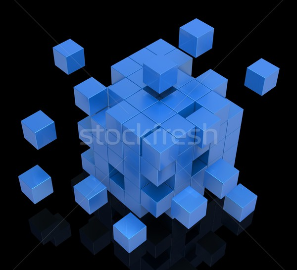 Exploding Blocks Shows Unorganized Puzzle Stock photo © stuartmiles
