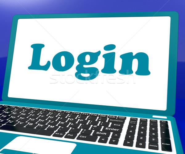 S'identifier ordinateur site sécurité portable Photo stock © stuartmiles