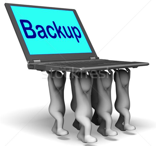 Backup karakter laptop archief Maakt een reservekopie omhoog Stockfoto © stuartmiles
