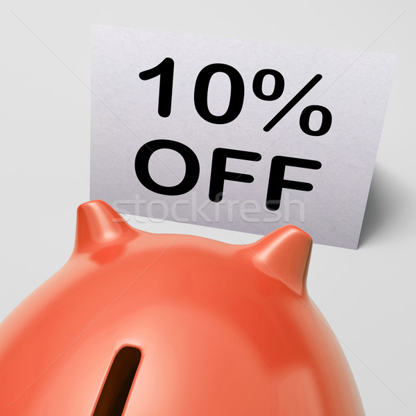 Ten Percent Off Piggy Bank Means Save 10 Stock photo © stuartmiles