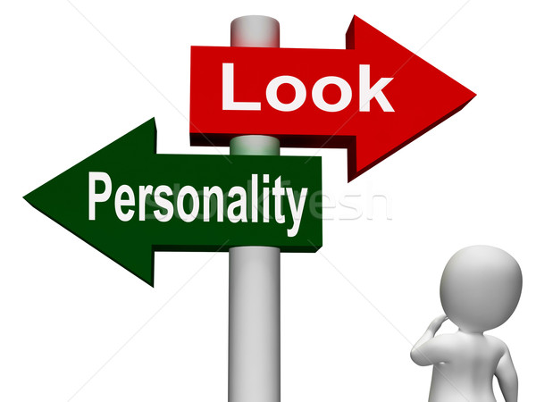 Look Personality Signpost Shows Character Or Superficial Stock photo © stuartmiles