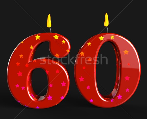 Number Sixty Candles Show Elderly Birthday Or Birth Anniversary Stock photo © stuartmiles
