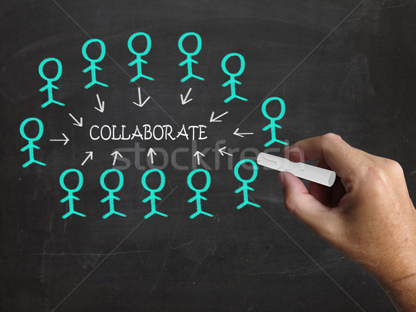 Collaborate On Blackboard Means Business Teamwork Or Collaborati Stock photo © stuartmiles