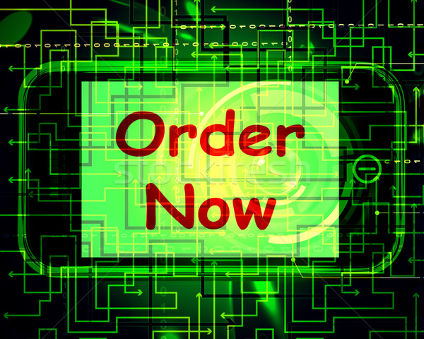 Order Now On Phone Shows Buying Online In Web Stores Stock photo © stuartmiles