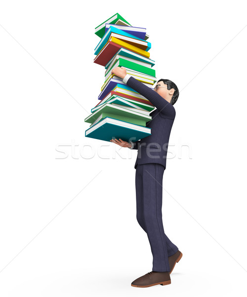 Businessman Carrying Books Represents Help Studying And Schooling Stock photo © stuartmiles