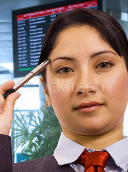 Işkadını havaalanı düşünme kadın yüz çalışmak Stok fotoğraf © stuartmiles