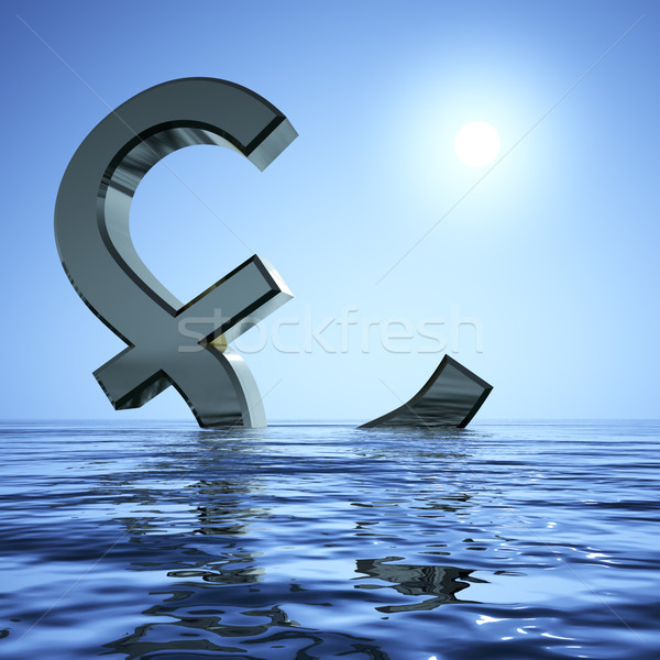 Stock photo: Pound Sinking In The Sea Showing Depression Recession And Econom
