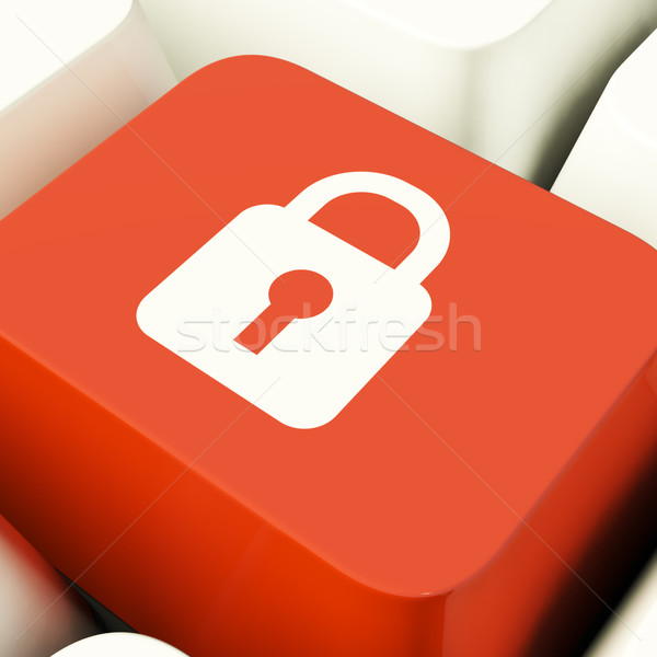 Padlock Icon Computer Key Showing Safety Security And Protected Stock photo © stuartmiles