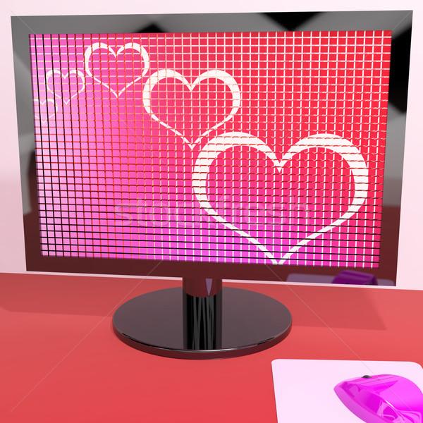 心 コンピュータの画面 愛 を デート ストックフォト © stuartmiles