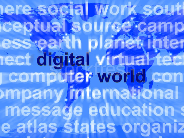 Digitalen Welt Worte Karte global Stock foto © stuartmiles