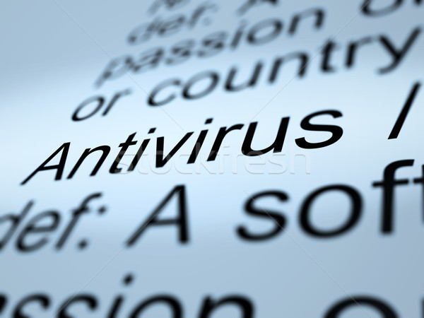 Stock photo: Antivirus Definition Closeup Showing Computer System Security