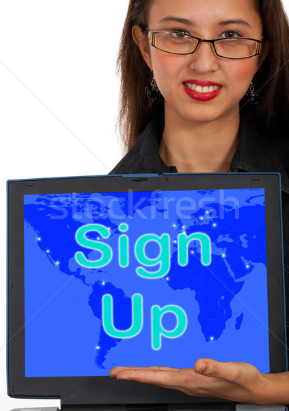 Sign Up Computer Message Shows Online Registration  Stock photo © stuartmiles