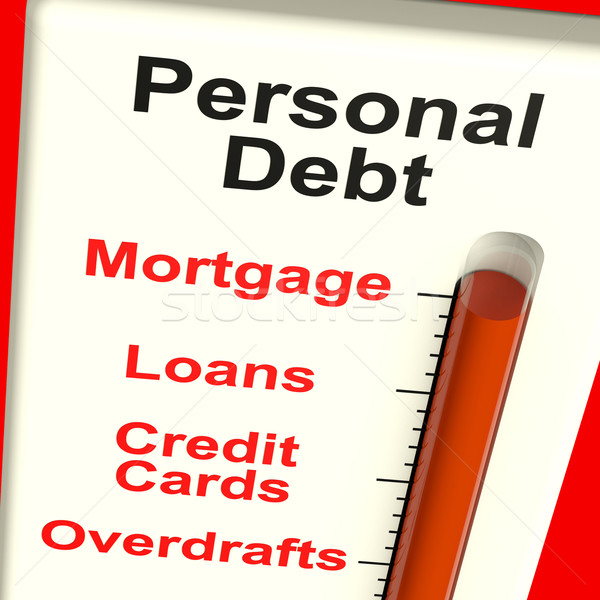 Personal Debt Meter Showing Mortgage And Loans Stock photo © stuartmiles