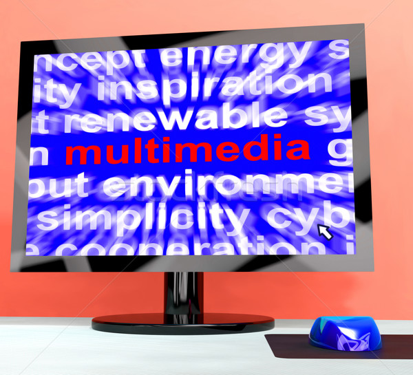 Multimedia Word On Computer Showing Digital Technology For Movie Stock photo © stuartmiles