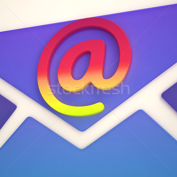 At Sign Envelope Shows Correspondence on Web Stock photo © stuartmiles
