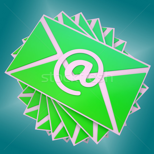Stock photo: Email Envelope Shows Communication Worldwide Through WWW