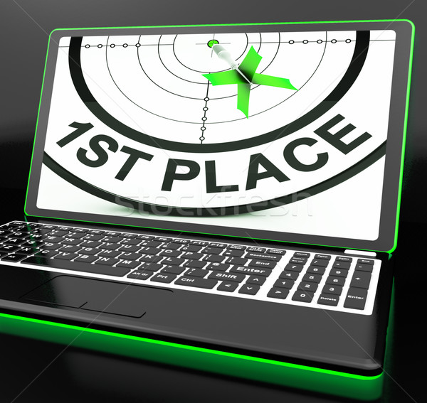1st Place On Laptop Showing Targeting Victory Stock photo © stuartmiles