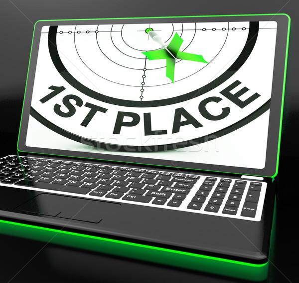 Első hely laptop mutat célzás győzelem Stock fotó © stuartmiles