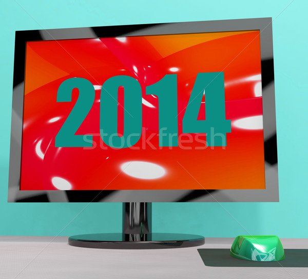 Two Thousand And Fourteen On Monitor Shows Year 2014 Stock photo © stuartmiles