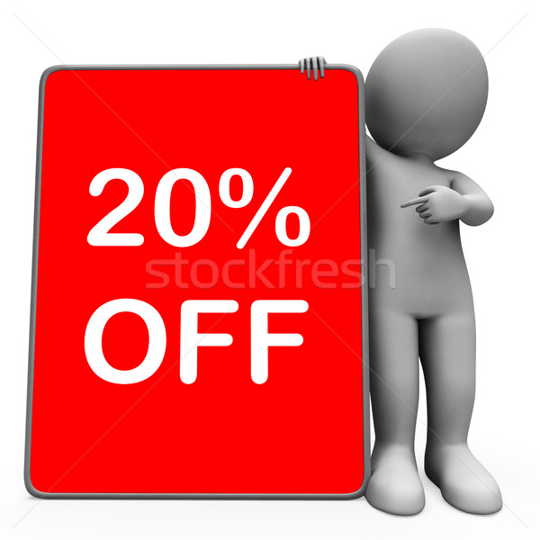 Twenty Percent Off Tablet Character Means 20% Reduction Or Sale  Stock photo © stuartmiles