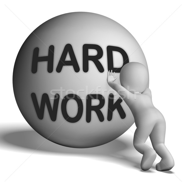 Hard Work Uphill Character Shows Difficult Working Labour Stock photo © stuartmiles