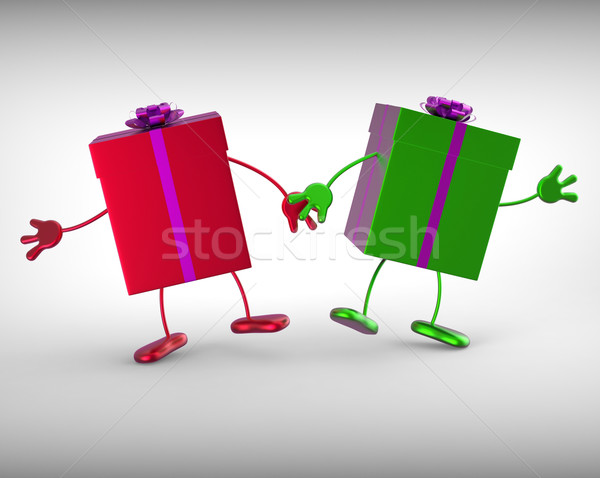 Presents Mean Receiving And Unwrapping Xmas Or Birthday Gift Stock photo © stuartmiles
