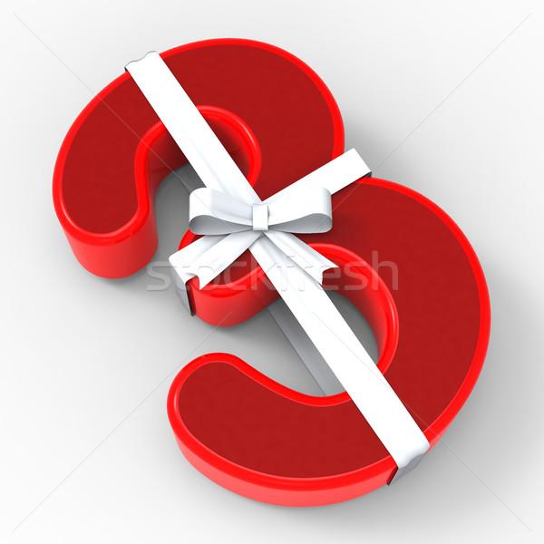 Numer trzy wstążka przypadku prezenty gratulacje Zdjęcia stock © stuartmiles