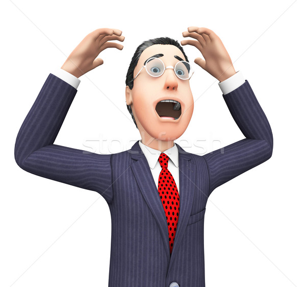 Businessman With Problem Represents Tight Spot And Mess Stock photo © stuartmiles