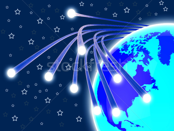 Optical Fiber Network Means World Wide Web And Communication Stock photo © stuartmiles