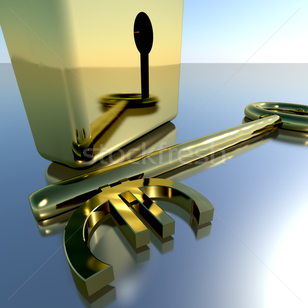 Euro Key With Gold Padlock Showing Banking Savings And Finance Stock photo © stuartmiles