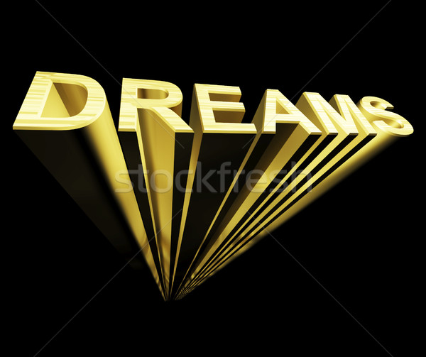 Dreams Text In Gold And 3d As Symbol For Imagination And Wishes Stock photo © stuartmiles