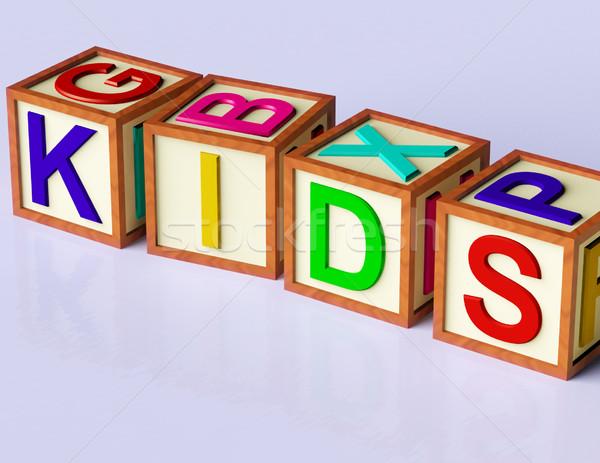 Bloklar yazım çocuklar simge çocukluk çocuklar Stok fotoğraf © stuartmiles