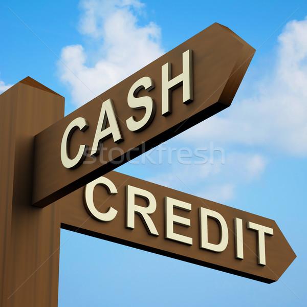 Stok fotoğraf: Nakit · kredi · sözler · tabelasını · ahşap · alışveriş
