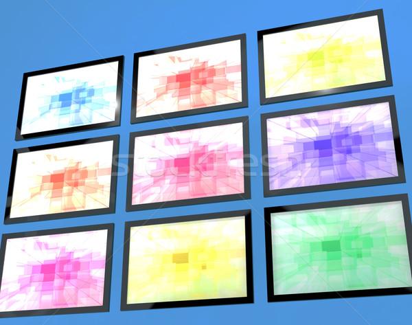Dokuz tv duvar farklı renkler yüksek çözünürlüklü Stok fotoğraf © stuartmiles