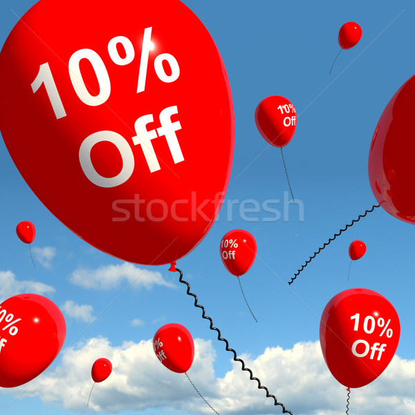 Balloon With 10% Off Showing Sale Discount Of Ten Percent Stock photo © stuartmiles
