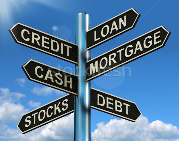 Kredit kölcsön jelzálog útjelző tábla mutat kölcsönvesz Stock fotó © stuartmiles