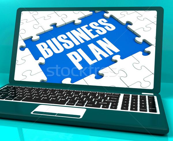 Stockfoto: Business · plan · laptop · tonen · oplossingen · beheer