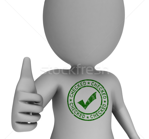 Checked Stamp With Tick On Man Shows Quality Stock photo © stuartmiles