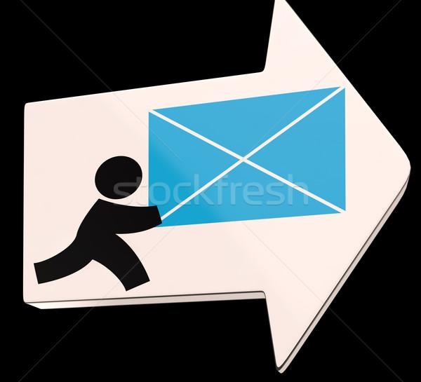 メール 矢印 速達便 少年 封筒 ストックフォト © stuartmiles