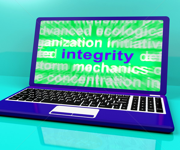 Integrity Laptop Shows Honesty Morality And Trust Stock photo © stuartmiles